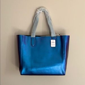 Coach Hologram Iridescent Blue Derby Tote Bag NWT